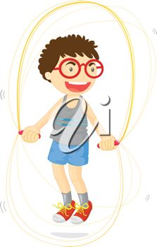 A boy jumping rope
