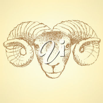 A ram's head on pale yellow