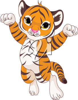 Clipart illustration of a jumping tiger.