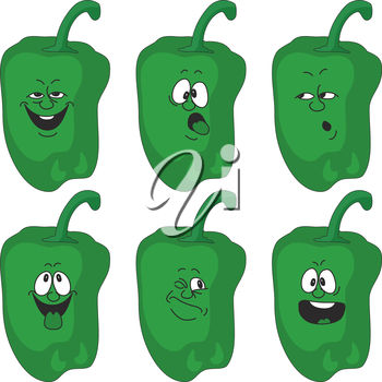 A group of cartoon peppers