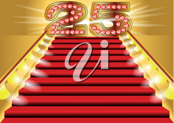 Red carpeted stairs and a number