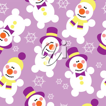 A background of snowmen and snowflakes