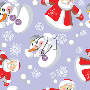 A background of snowmen and santas