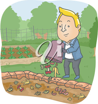 A cartoon man in a garden