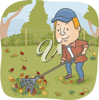A man raking leaves
