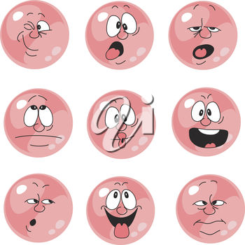 A set of button faces