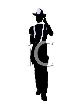 A firefighter silhouette