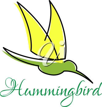 A hummingbird with text