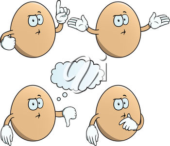 Four eggs with different expressions and hand gestures