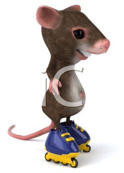 A mouse on roller skates