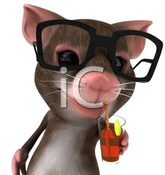 A mouse wearing black glasses