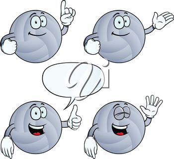 Volleyballs with different expressions