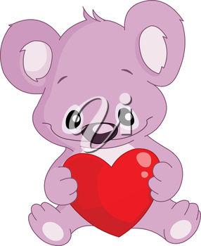 A cartoon bear holding a heart