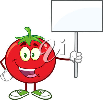 A cartoon tomato holding a banner