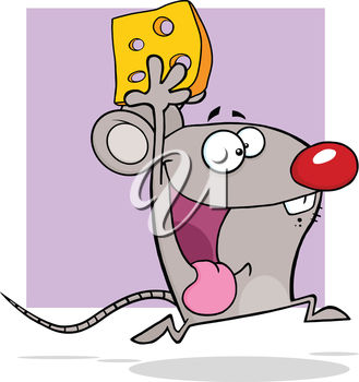 A mouse running with cheese