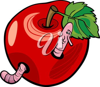 A cartoon worm in an apple