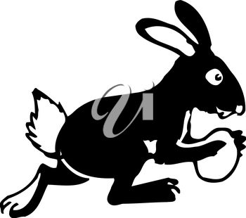 A black and white easter bunny
