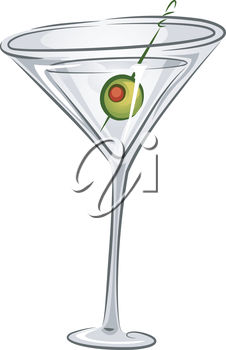 A martini and olive