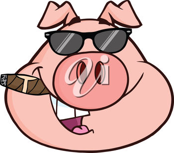 A pig smoking a cigar