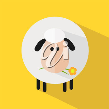 A sheep on a yellow background