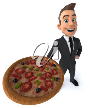 A 3d man holding a large pizza