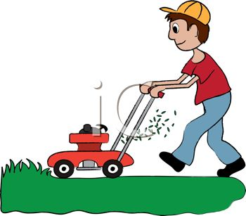 A man pushing a lawnmower