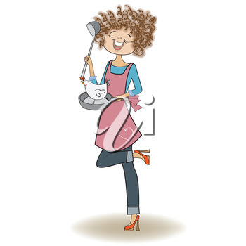 Clipart Illustration of a Woman Standing on One Leg Holding a Pan
