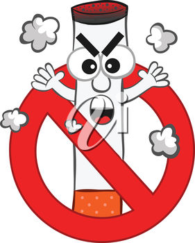 A cigarette on a smoking ban symbol