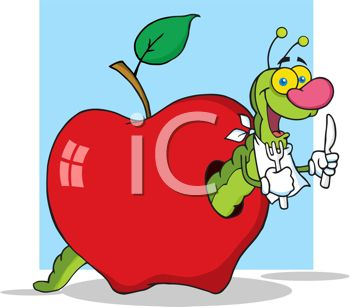 Clipart illustration of a worm in an apple with a knife and fork.