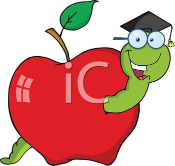 Clipart illustration of a worm wearing a mortar board in an apple.