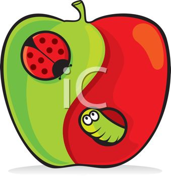 Clipart illustration of a worm and a lady bug in an apple.