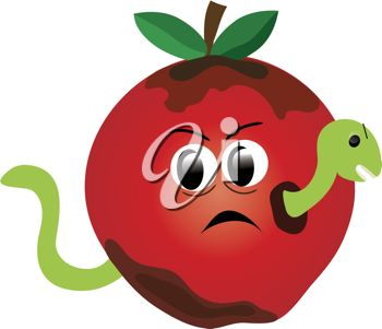 Clipart illustration of a worm in a sad looking apple.