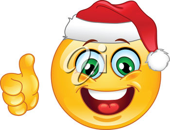 Clipart illustration of a smiling emoticon with a santa hat.