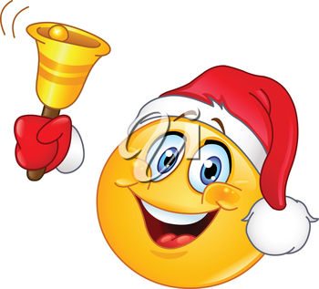 Clipart illustration of a smiling emoticon with a santa hat ringing a bell.