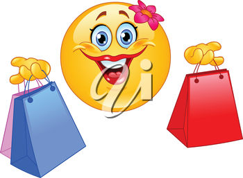 Clipart illustration of a smiling emoticon with shopping bags.