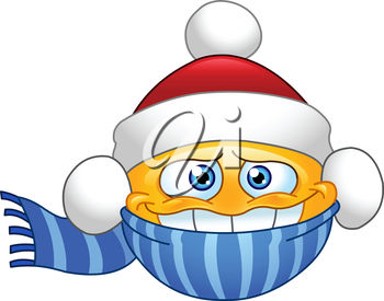Clipart illustration of a smiling emoticon with a santa hat and scarf.