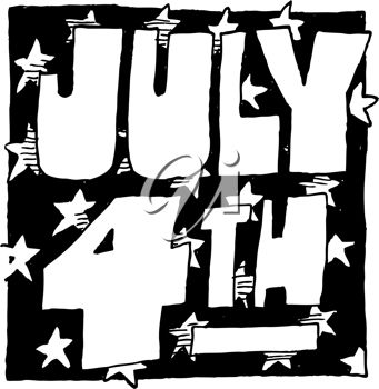 Black & White Cartoon 4th July Illustration with Stars