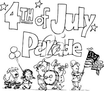 Cartoon 4th July Parade Illustration