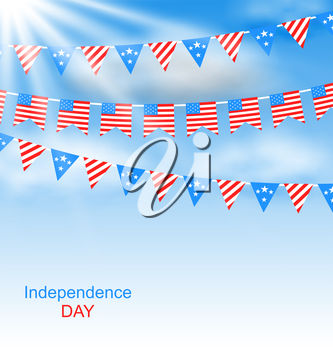 Clipart Illustration of Independence Day bunting and blue sky.