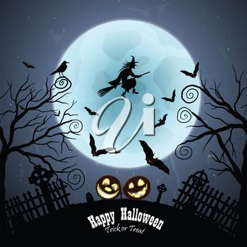 Witch flying infront of a Halloween moon clip art image.