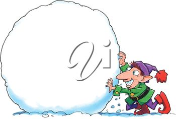 An elf making a large snowball