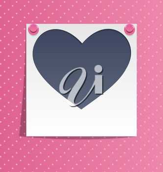 Romantic clipart image of a heart pinned to a board.