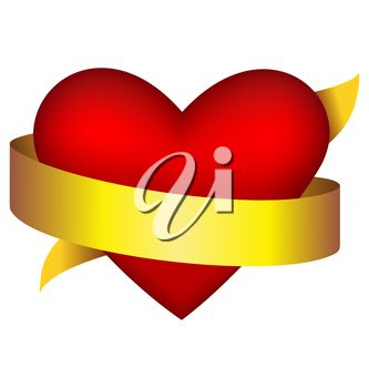 Clipart image of a love heart wrapped with a gold ribbon.