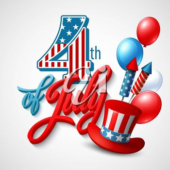 3D Clipart Illustration for the 4th of July
