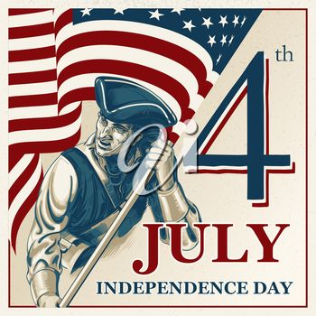 Soldier Holding a US Flag Clipart Illustration for the 4th of July