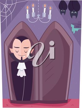 Illustration of a Vampire Sleeping in a Coffin