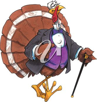 Clipart Image of a Dapper Thanksgiving Turkey