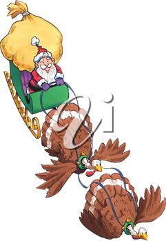 Clipart Image of Thanksgiving Turkeys Pulling Santa's Sleigh