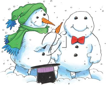 Snowman Giving a Friend a New Nose