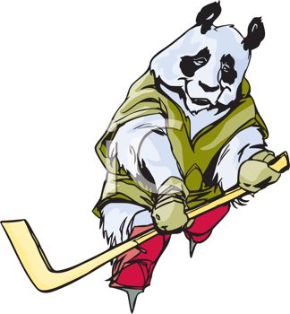 Panda Mascot Playing Ice Hockey